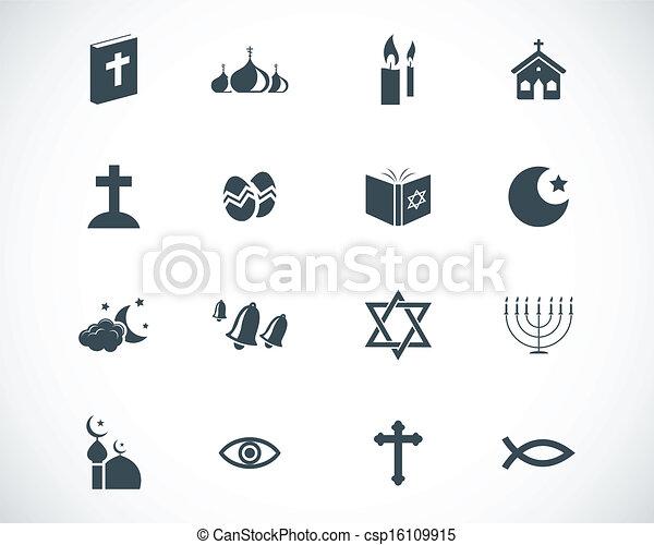 Vector black  religion icons set - csp16109915