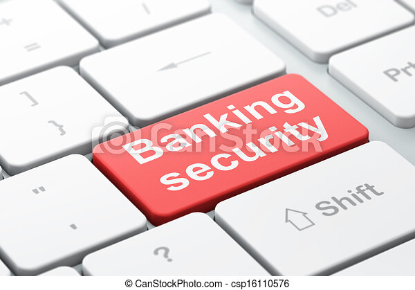 Security concept: computer keyboard with word Banking Security, selected focus on enter button background, 3d render - csp16110576