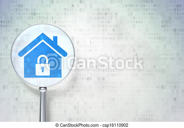 Security concept: magnifying optical glass with Home icon on digital background, empty copyspace for card, text, advertising, 3d render - csp16110902