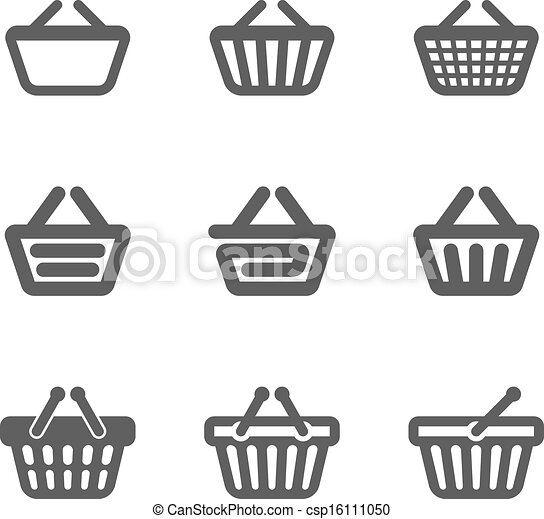 Clipart Vector of Shopping basket icons csp16111050 ...