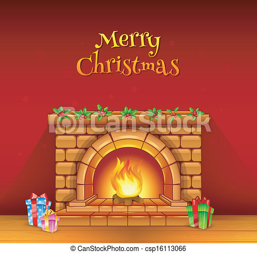 clip art vector of fireplace vector illustration of Victorian Christmas Fireplace christmas fireplace clipart free