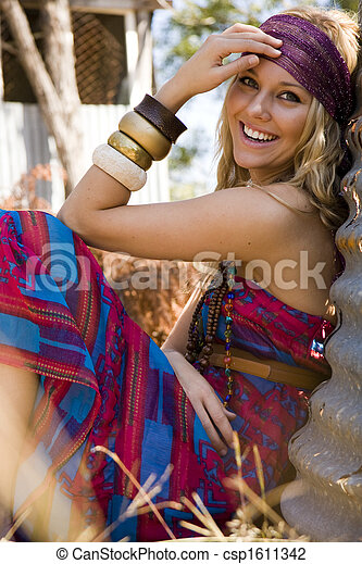 Young woman in the country - csp1611342