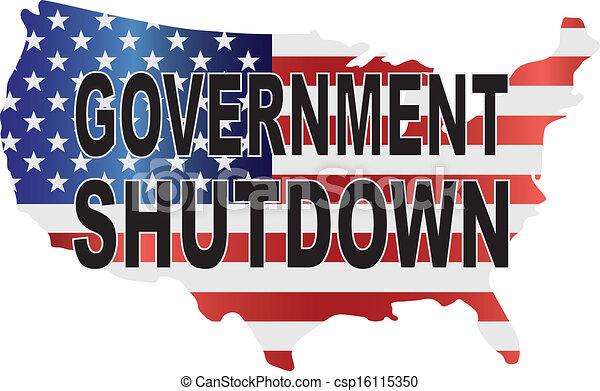 Government Shutdown USA Map Illustration - csp16115350