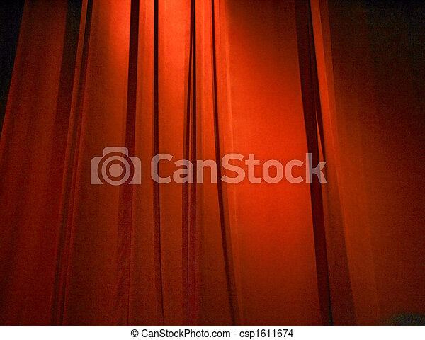 red closed curtain - csp1611674