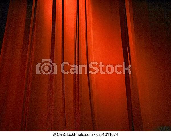 red closed curtain - csp1611674
