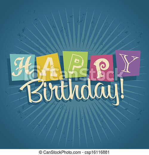 Retro Happy Birthday Greeting Card - csp16116881