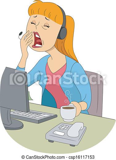 Yawning Girl - Illustration of Girl Yawn Clipart