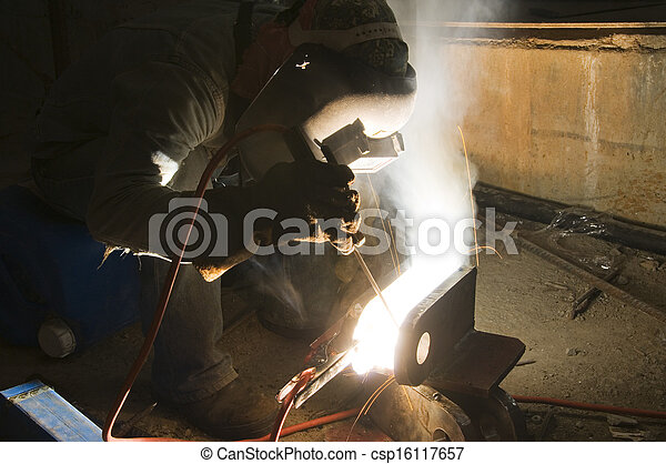 Welder and Tools on Building Site  - csp16117657
