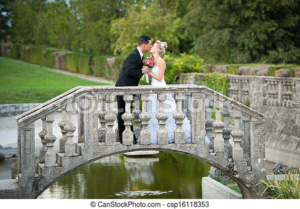 Bride and groom in a park outdoor - Married couple - csp16118353