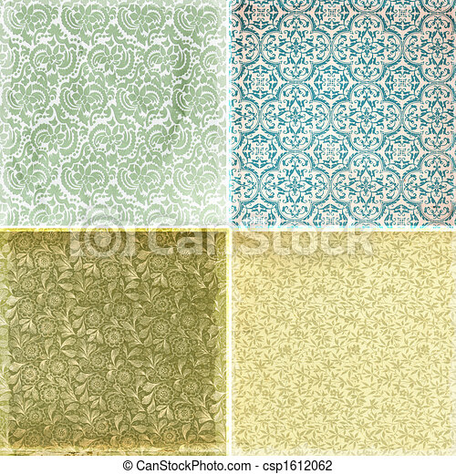 Collection of vintage wallpaper pattern textures - csp1612062