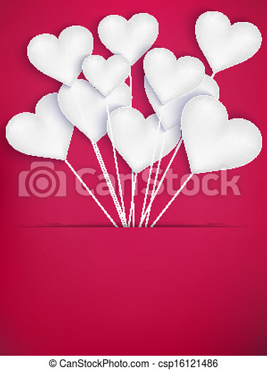 Valentines Day Heart Balloons. EPS 10 - csp16121486