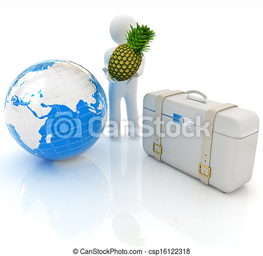 3d man with pineapple, earth and traveler's suitcase - csp16122318