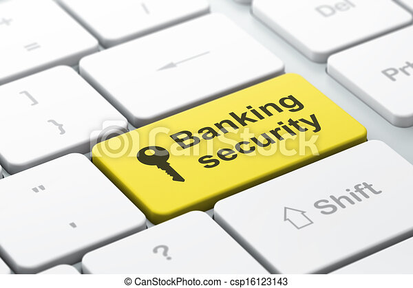 Privacy concept: computer keyboard with Key icon and word Banking Security, selected focus on enter button, 3d render - csp16123143