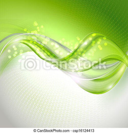Abstract green waving background - csp16124413