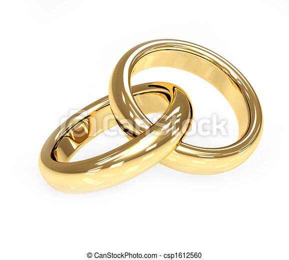 Two 3d gold wedding ring - csp1612560