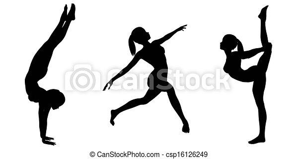silhouette, illustrations, femme, gymnaste, queue cheval, divers ...