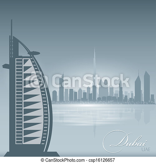 Clipart Vector of Dubai UAE skyline city silhouette background - Dubai ...