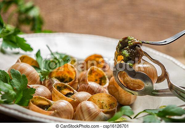 photographies de manger escargot frit beurre ail persil csp16126701 recherchez des photos. Black Bedroom Furniture Sets. Home Design Ideas
