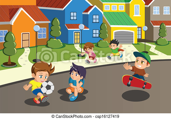 Vector Clip Art of Kids playing in the street of a ... Happy High School Student Clipart