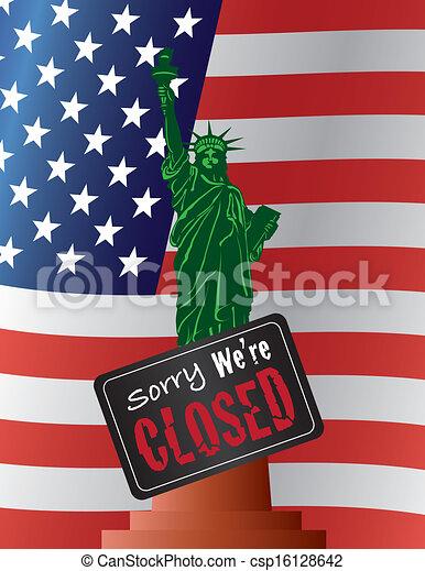Government Shutdown Statue of Liberty Illustration - csp16128642