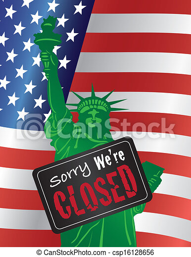 Government Shutdown Statue of Liberty Closed Sign Illustration - csp16128656