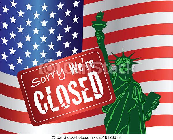 Government Shutdown Statue of Liberty - csp16128673