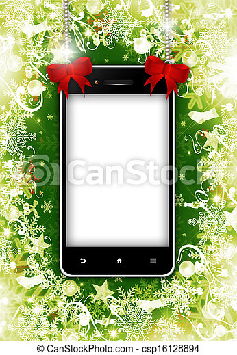 mobile phone with place for text with christmas background - csp16128894