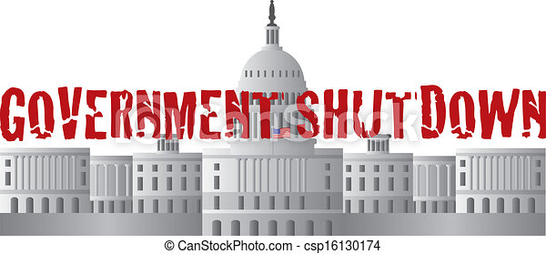 Washington DC Capitol Government Shutdown Text - csp16130174