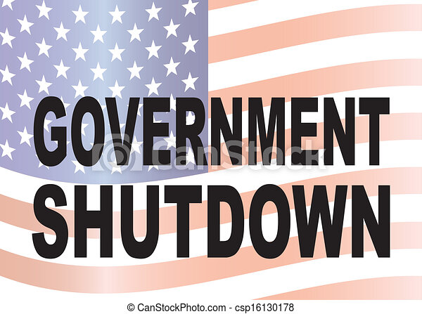 Government Shutdown Text with US Flag Illustration - csp16130178