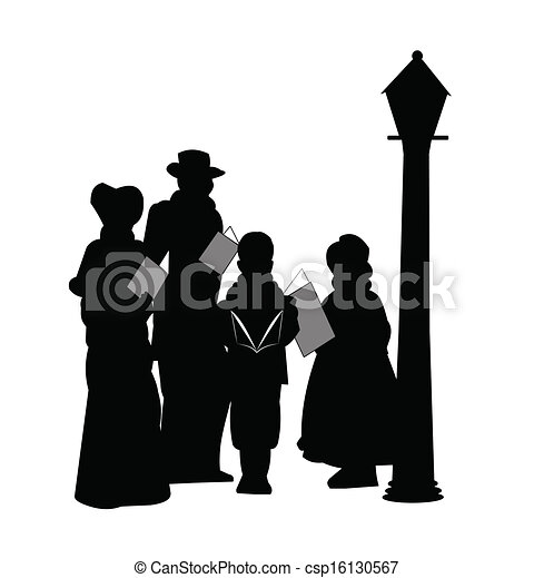Clip Art Vector of christmas carolers - family in silhouette singing ...