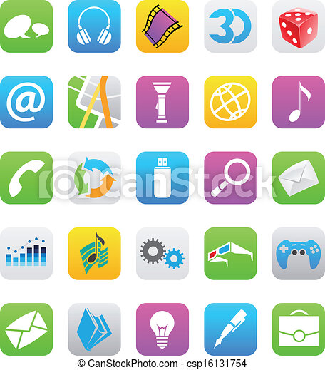 Clipart Vector Of Ios 7 Style Mobile App Icons Isolated On