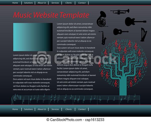 music web site design template - csp1613233