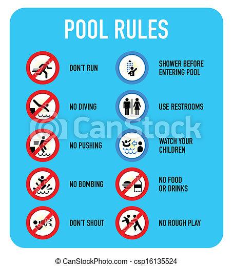Ilustraciones de vectores de reglas piscina se ales for Piscina en ingles