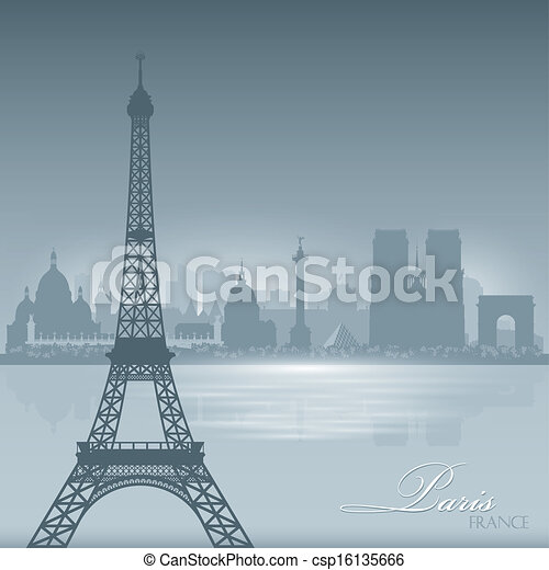 Paris France skyline city silhouette background - csp16135666