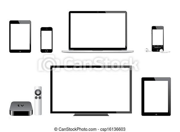 Clipart Vecteur De Ipad Pomme Tv Ipod Mac Iphone
