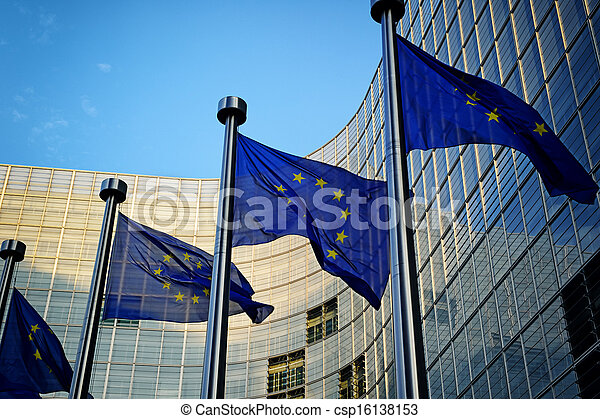 EU flags in front of European Commission - csp16138153