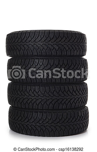 The automobile tire isolated on white - csp16138292