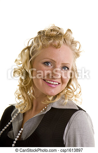 Curly Blonde Head Back Smiling - csp1613897