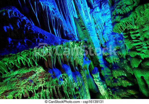 Photo - stalactites, roseau, flûte, Cavernes, Guilin, porcelaine