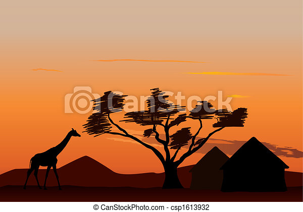African Village Drawing Sunset in Africa Csp1613932