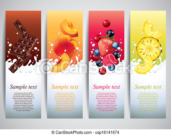 Fruits in milk splashes vector banners - csp16141674