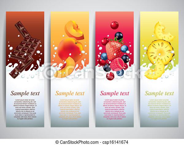 Fruits in milk splashes vector banners - csp16141674