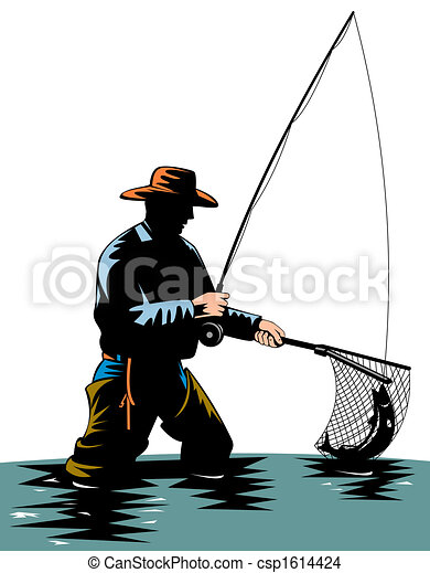 Drawing of Fly fishing - Illustration on fly fishing csp1614424 ...