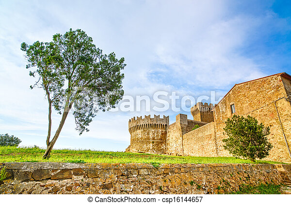 Tree in Populonia medieval village landmark, city walls and tower on background. Tuscany, Italy. - csp16144657