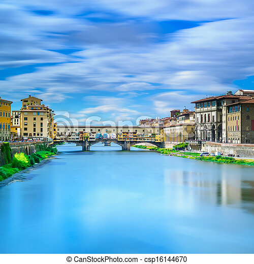 Ponte Vecchio landmark on sunset, old bridge, Arno river in Florence. Tuscany, Italy. - csp16144670