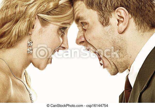 gritar, relación, furia, pareja, dificultades, boda - csp16144754