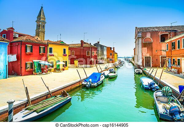 Venice landmark, Burano island canal, colorful houses, church and boats, Italy - csp16144905