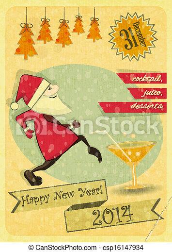Retro New Years Card - csp16147934