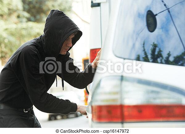 thief burglar at automobile car stealing - csp16147972