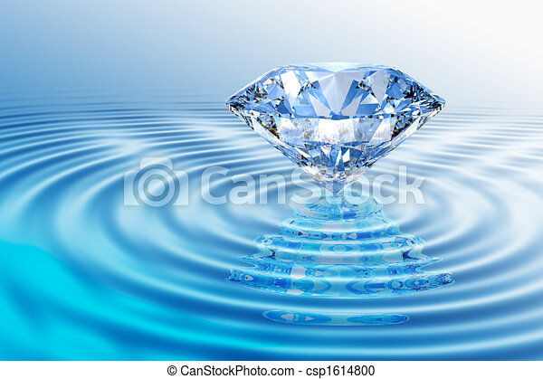 Blue diamond with reflection - csp1614800